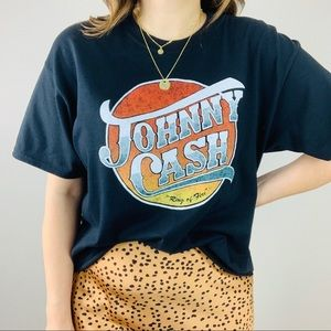 Johnny Cash Ring Of Fire Cropped Graphic Tee